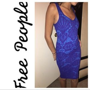 Dresses & Skirts - Free people blue lace body contour dress
